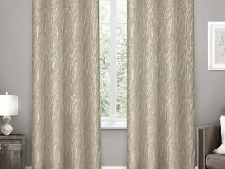 52x108   Natural  ATI Home Forest Hill Woven Blackout Grommet Top Curtain Panel Pair