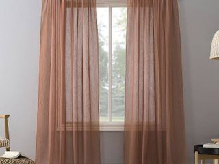 51 x84  Erica Crushed Sheer Voile Rod Pocket Curtain Panel Orange   No  918