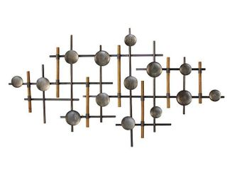 39 37  x 23 62  Metal and Wood Wall Sculpture Gunmetal   Stratton Home DAccor