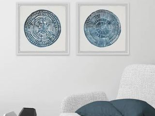 The Curated Nomad Handmade Blue Diptych Medallion Framed Art  1 piece
