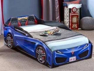 Coley Spyder Toddler Race Car Bed Blue
