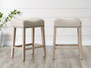 The Gray Barn Barish Backless Saddle Seat Counter Stools  Set of 2  Retail 99 99