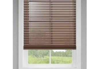 levolor 2 in Cordless Walnut Room Darkening Faux Wood Blinds A 2 35x64