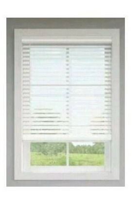 levolor 2 5 in White Faux Wood Blinds 26 1 4 X72  Includes Hardware