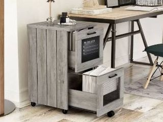 Felix rustic grey oak finish 2 drawer file cabinet