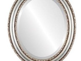 Dorset framed oval mirror in silver leaf with brown antique
