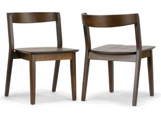 Set of 2 Astor Dark Brown Solid Wood Chair with Curved Back Retail 188 99