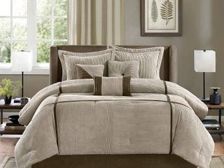 Madison Park Houston Taupe 7 Piece Comforter Set Retail 103 02