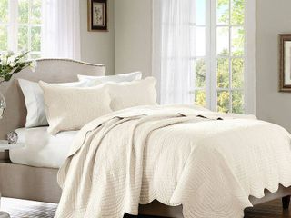 Ivory Genoa Coverlet Set Full Queen 3pc
