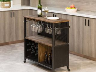 FirsTime   Co  Chandler Brown Farmhouse Kitchen Cart