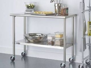 Trinity stainless steel table with casters