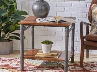 Cagny Industrial Wood Steel End Table