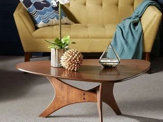 Carson Carrington Telsiai Brown Triangle Wood Coffee Table  Broken leg  scratches