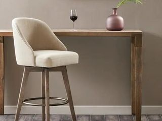 Madison Park Walsh Upholstered Bar Stool with Swivel Seat   Sand