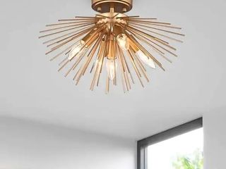 lorena Gold Finish Sputnik Metal Flush Mount with 5 lights Retail 98 99