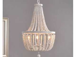 Zander White 3 light Wood Bead Chandelier