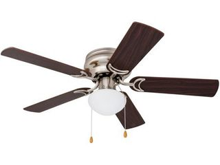 Prominence Home Alvina 42 inch Brushed Nickel Ceiling Fan  Glass shade has damage