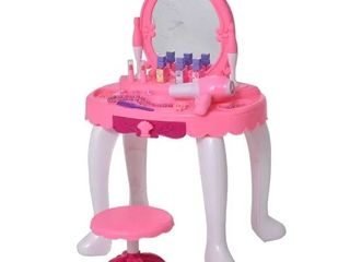 Qaba Children Dressing Table Set Girls  Pretend Princess Vanity Table