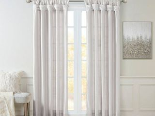 50 W x 84 l   Silver  Madison Park Natalie Twisted Tab lined Single Curtain Panel