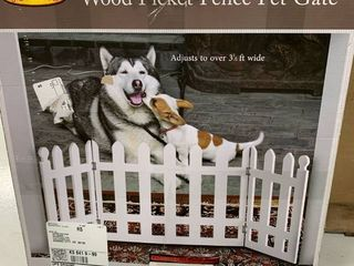 Folding White Picket Pet Gate