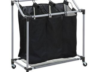Honey Can Do Triple laundry Sorter with Removable Bags  Black Gray