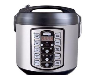 aroma professional plus arc 5000sb 20 cup  cooked  digital rice cooker  food steamer  slow cooker  stainless exterior nonstick pot