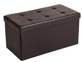 Songmics   Faux leather Folding Ottoman   Brown