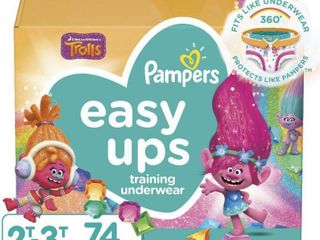 Pampers Easy Ups Training Underwear Girls Super Pack   Size 4 2T 3T   74ct