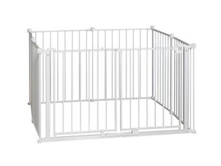 Regalo 192 Inch Wide Double Door Super Wide Baby Gate and Adjustable 8 Panel Play Yard  White