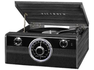 Victrola Wood Metropolitan Mid Century Modern Bluetooth Record Player with 3 speed Turntable and Radio