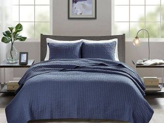 Navy Mitchell Solid Brushed Fabric Quilt Set King California King 3pc