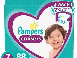 Pampers Cruisers Disposable Diapers One Month Supply   Size 7  88ct