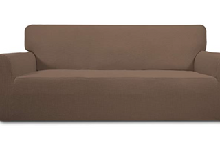 Easy Going Stretch Oversized Sofa Brown Slipcover