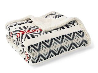 Throw Blankets Eddie Bauer 50X60 Inches Off White Barn Red Cloudy Gray