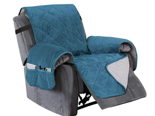 Turquoise Velvet Quitlted Furniture Protector Recliner