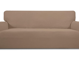 Easy Going loveseat Sectional Stretch Slipcovers  High Quality  Easy Care  Soft Material  Elastic Bottom to give a Whole Protection  Machine Washable  Camel in Color