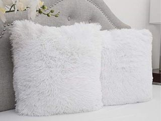Sweet Home Collection Plush Pillow Faux Fur Soft and Comfy Throw Pillow  2 Pack  White