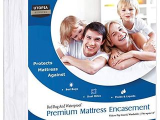 Utopia Bedding Premium 135 GSM Waterproof Mattress Encasement  360 Protection  Zippered  Fits 15 Inches Deep  Easy Care  King
