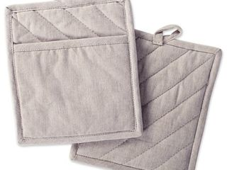 Design Imports Stone Brown Solid Chambray Potholder Set of 2
