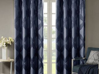 50 W x 108 l   Navy   Abel Ogee Knitted Jacquard Total Blackout Curtain Panel by SunSmart  Set of Two