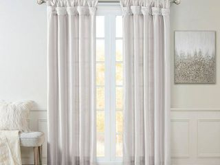 95 x50  lillian Twisted Tab   Set of 2  lined light Filtering Curtain Panel Silver