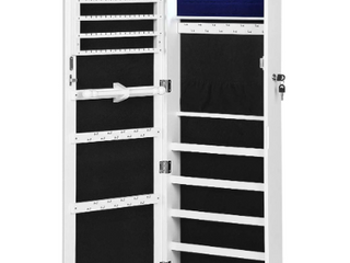 Songmics 6 lED Jewelry Cabinet   2 Drawers   White