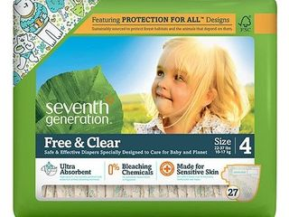 Seventh Generation Free and Clear Sensitive Skin Baby Diapers with Animal Prints  Size 4  135 Count