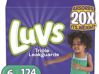 luvs Triple leakguards Extra Absorbent Diapers  Size 6  124 Ct