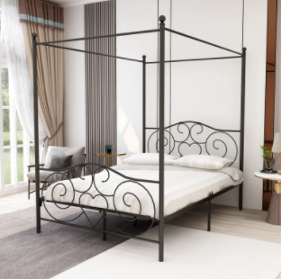 Full Size Metal Canopy Bed   Sanded Black