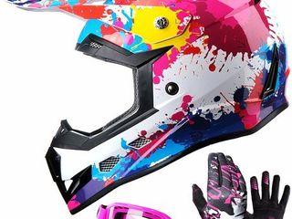 GlX DOT Youth Kids Motocross ATV Dirt Bike Helmet Off Road  Goggles Gloves