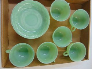 Jadeite colored dishes   Victorian lace IJ