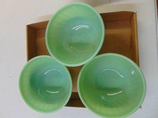 Fire King Jadeite set of 3 Bowls