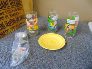 3 Snoopy Character Glasses   Repro Fiesta Dish