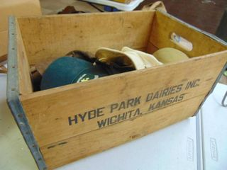 Wooden crate with vintage hats